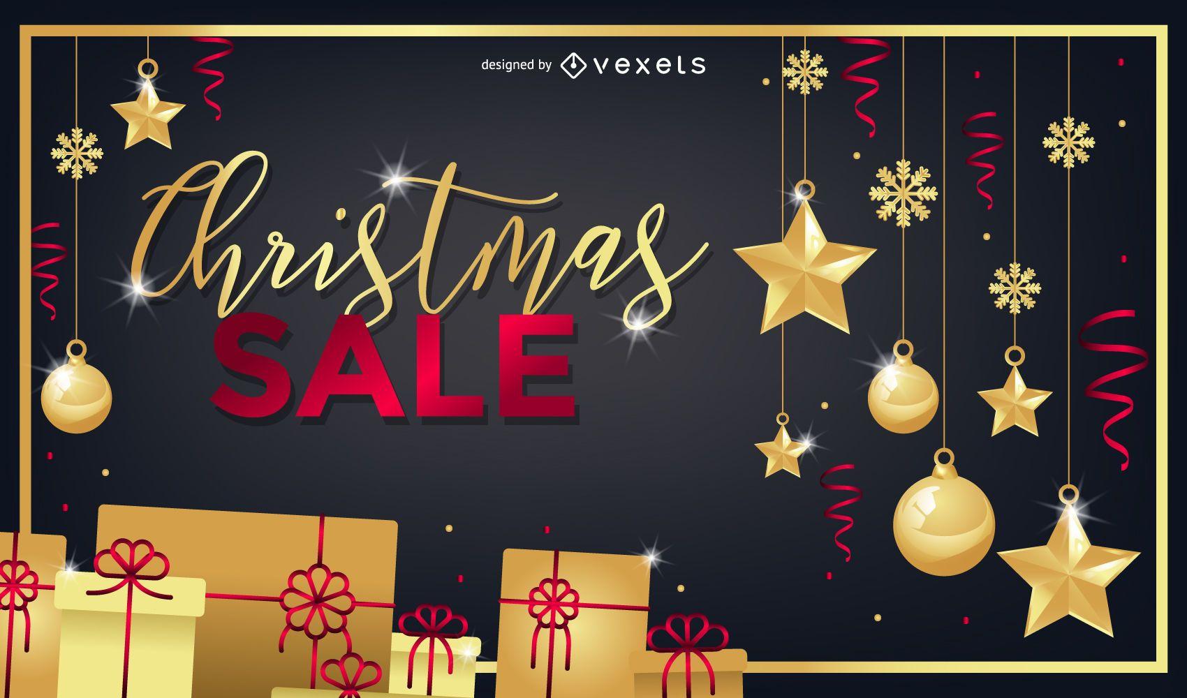 Christmas sale golden background