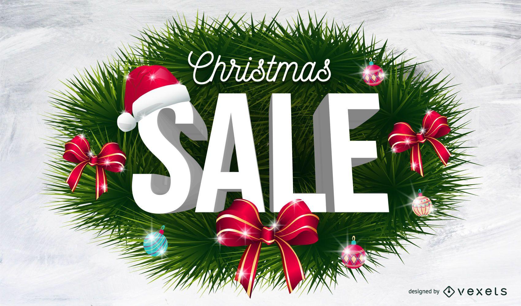 Christmas sale wreath background