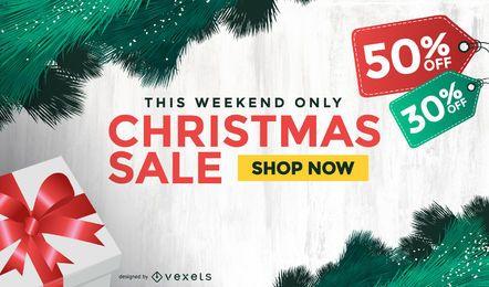 Fondo de venta de Navidad con etiquetas de regalo