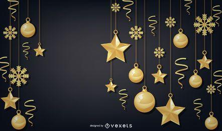 Eleganter goldener Weihnachtshintergrund