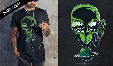 Alien en el diseño de camiseta del planeta
