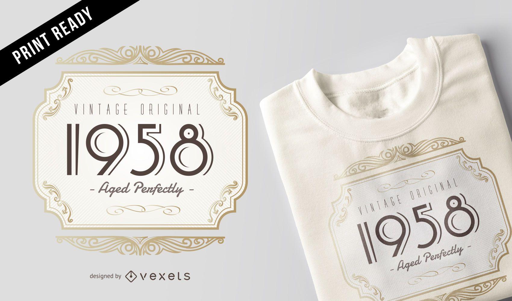 Vintage Original Retro 1958 Hombres Mujeres Diseño de camiseta de cumpleaños
