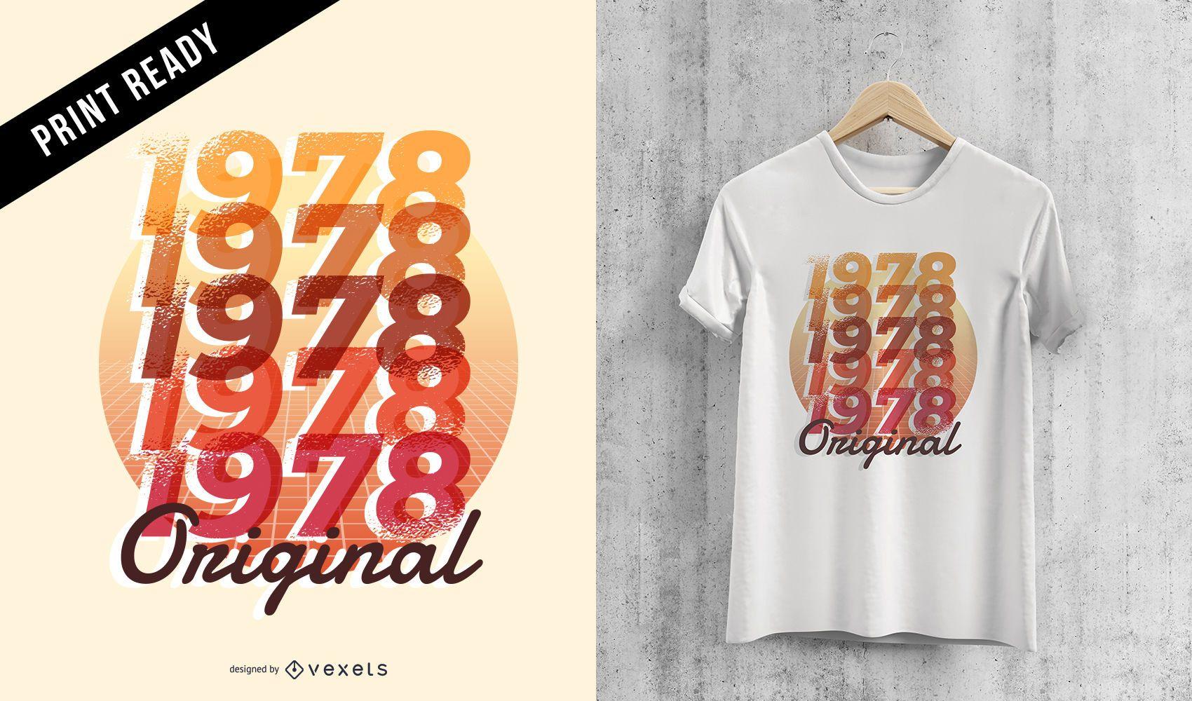 Diseño de camiseta de cumpleaños clásico original retro 1978 hombres mujeres