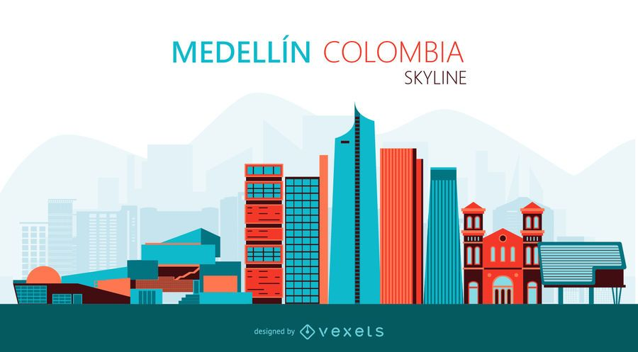 Medellin skyline illustration
