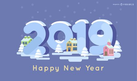 Feliz ano novo, neve, ilustração
