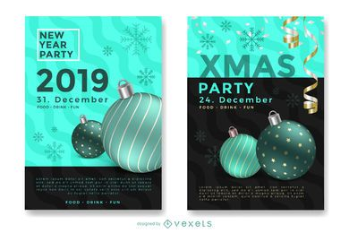 Winter holiday party flyers