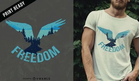 Diseño de camiseta Freedom bird