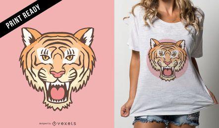 Design de t-shirt de cabeça de tigre