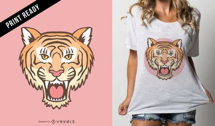 Diseño de camiseta Tiger Head.