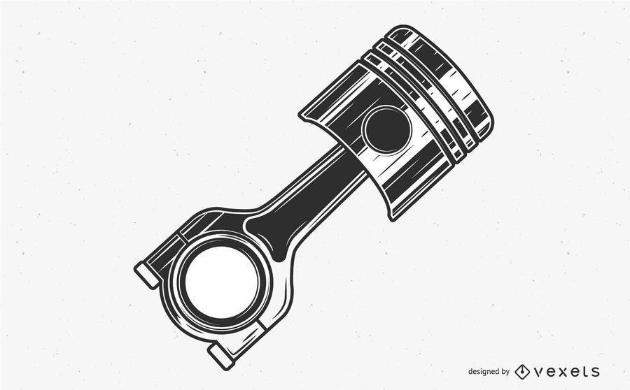 Ilustración plana del pistón del motor