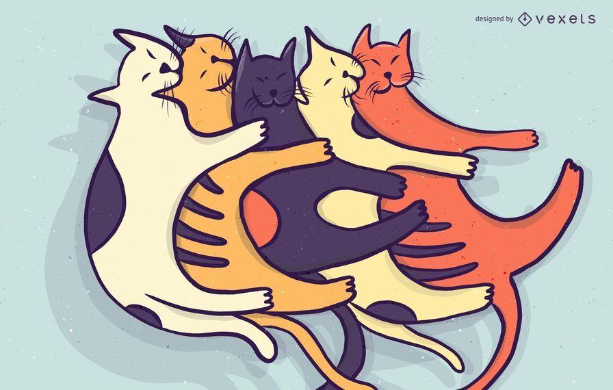 Pila de ilustración de dibujos animados de gatos