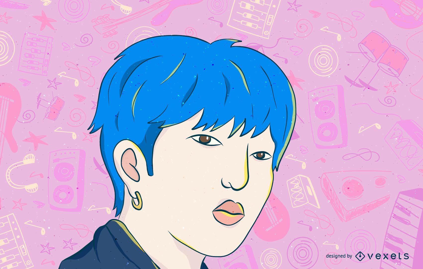 Dibujos animados de cantante pop coreano