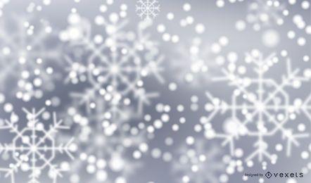 Fundo de inverno flocos de neve de bokeh