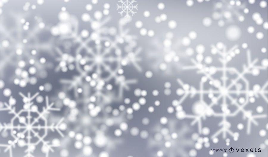 Bokeh snowflakes winter background