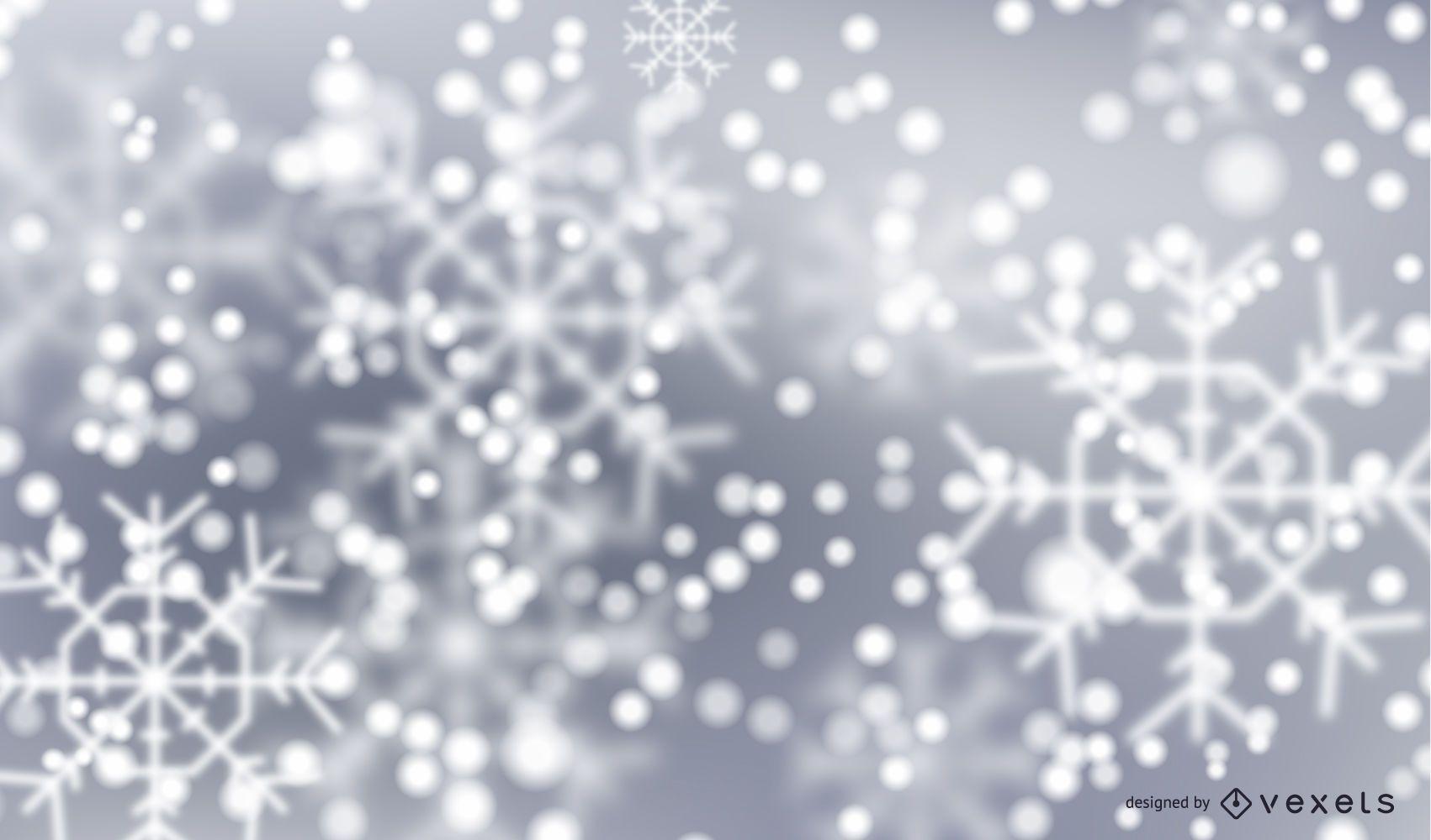 Fondo de invierno de copos de nieve bokeh
