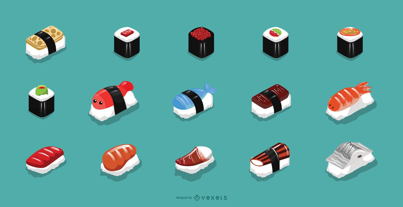 Sushi icons collection