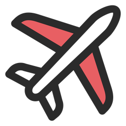 Airplane colored stroke icon