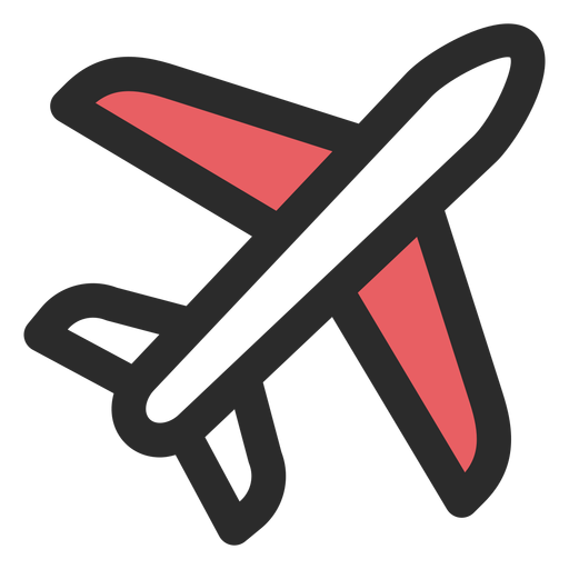 Ícone de traço colorido de avião Transparent PNG