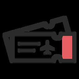 Icono de trazo de color billetes de avión