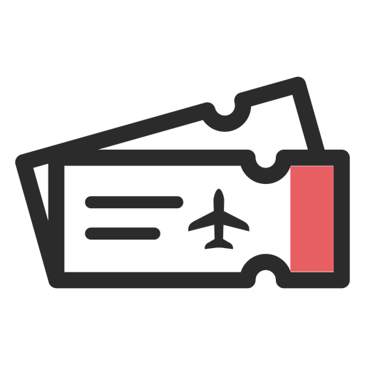 Icono de trazo de color billetes de avión Transparent PNG