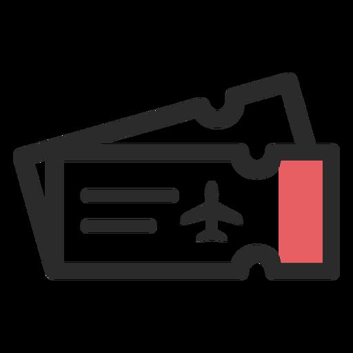 Icono de trazo de color de boletos de avión