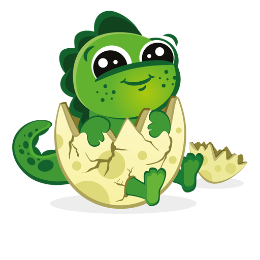 Baby dino in eggshell cartoon Transparent PNG