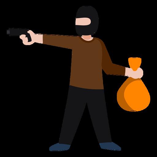 Bandit character robbing bank Transparent PNG