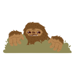 Bigfoot hiding cartoon