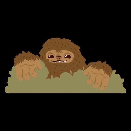 Bigfoot escondiendo dibujos animados