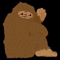 Dibujos animados de Bigfoot sentado