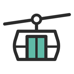 Cable car colored stroke icon