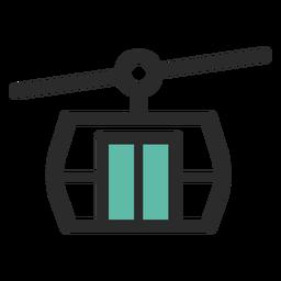 Ícone de traço colorido de teleférico