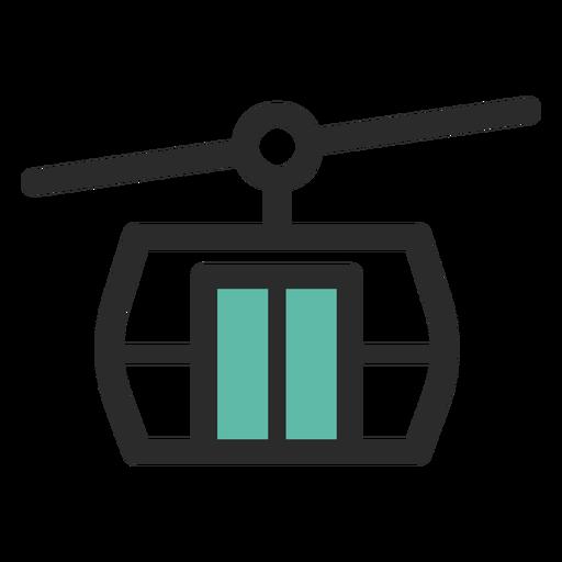 Ícone de traço colorido de teleférico Transparent PNG