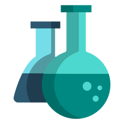 Iconos de la escuela ilustración química matraz