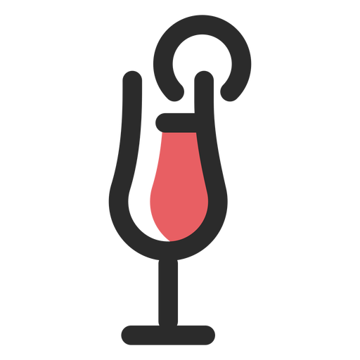 Cocktail drink colored stroke icon Transparent PNG