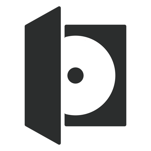 Icono plano de caja de disco compacto