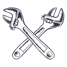 Crossed adjustable wrenches logo