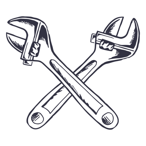 Crossed adjustable wrenches logo Transparent PNG