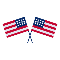 Crossed american flags design element
