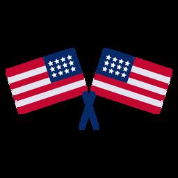 Cruzou o elemento de design de bandeiras americanas