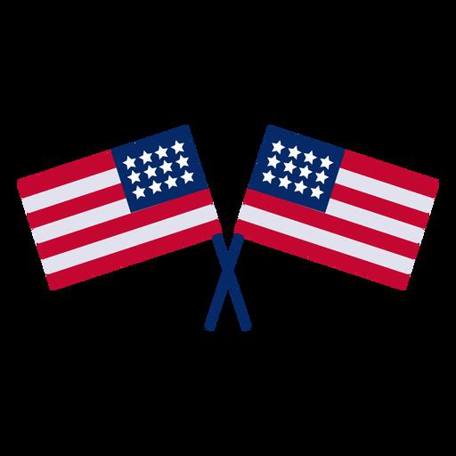 Banderas americanas cruzadas de elemento de diseño. Transparent PNG