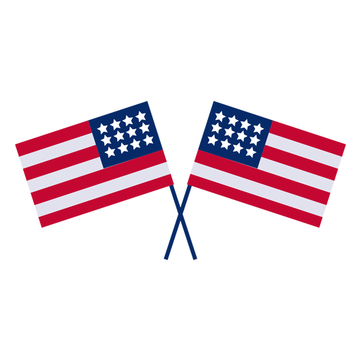 Crossed american flags design element Transparent PNG