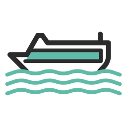 Cruise ship colored stroke icon