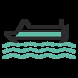 Ícone de traço colorido de navio de cruzeiro
