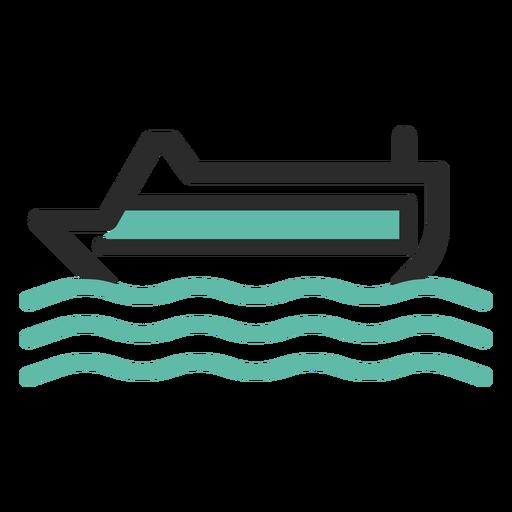Ícone de traço colorido de navio de cruzeiro Transparent PNG