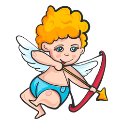 Cupid shooting arrow cartoon