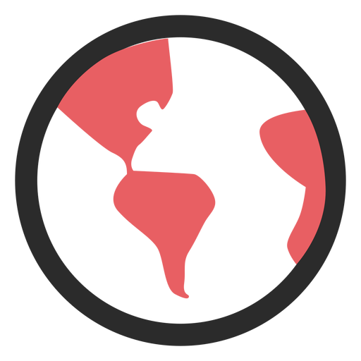 Ícone de traço colorido globo terra Transparent PNG