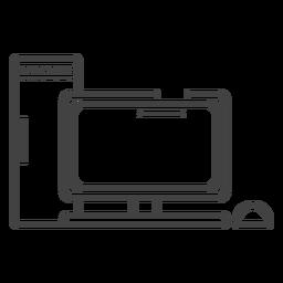 Icono de trazo de computadora para juegos