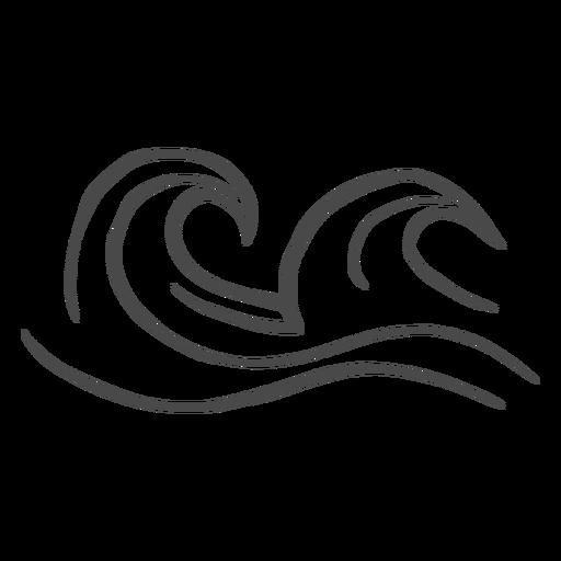 Hohe Wellen von Hand gezeichnet Transparent PNG