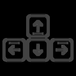 Icono de trazo de teclas de flecha del teclado